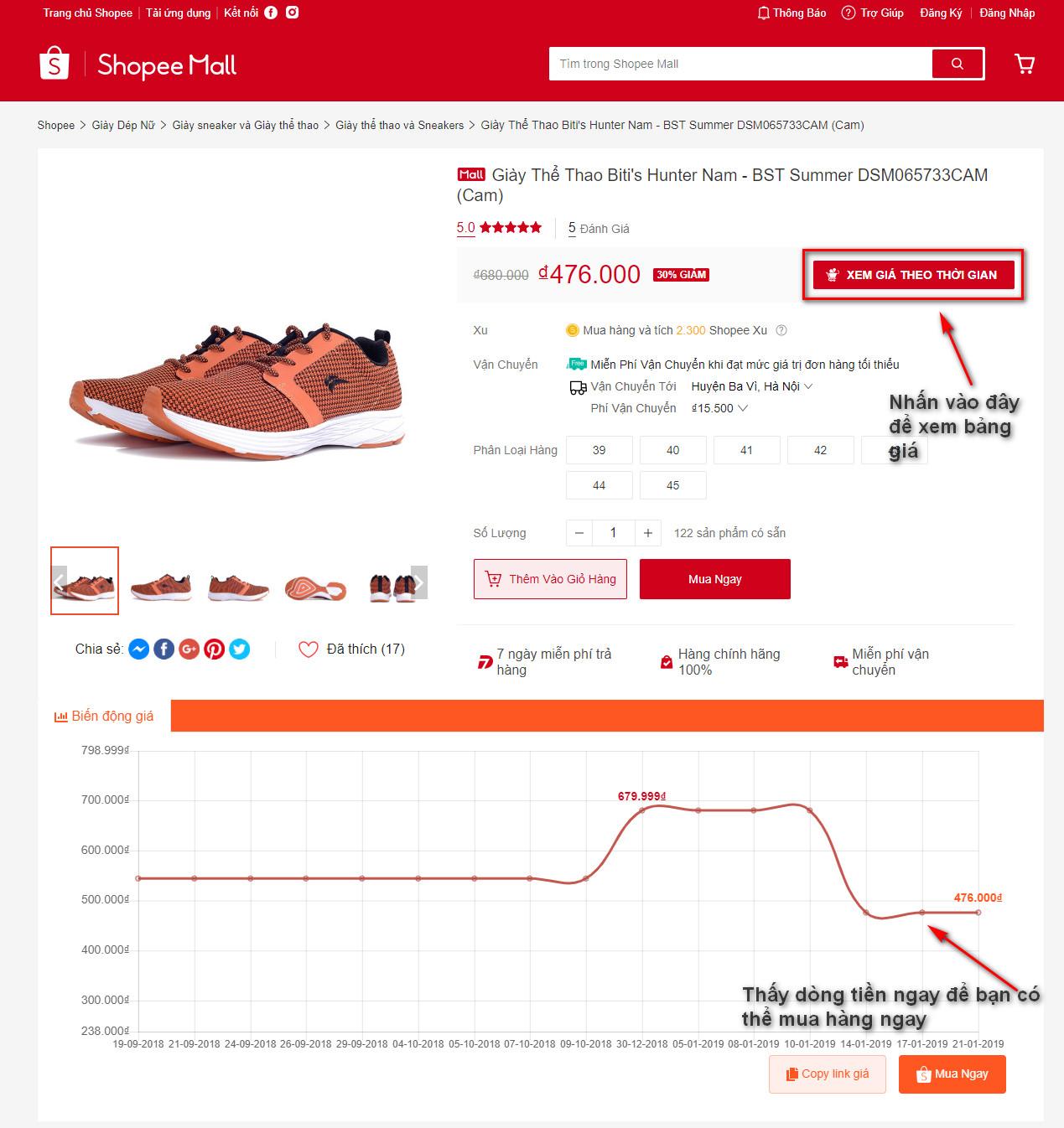 Tiện ích BeeCost – theo dõi giá Shopee biến động để chọn thời điểm mua rẻ nhất