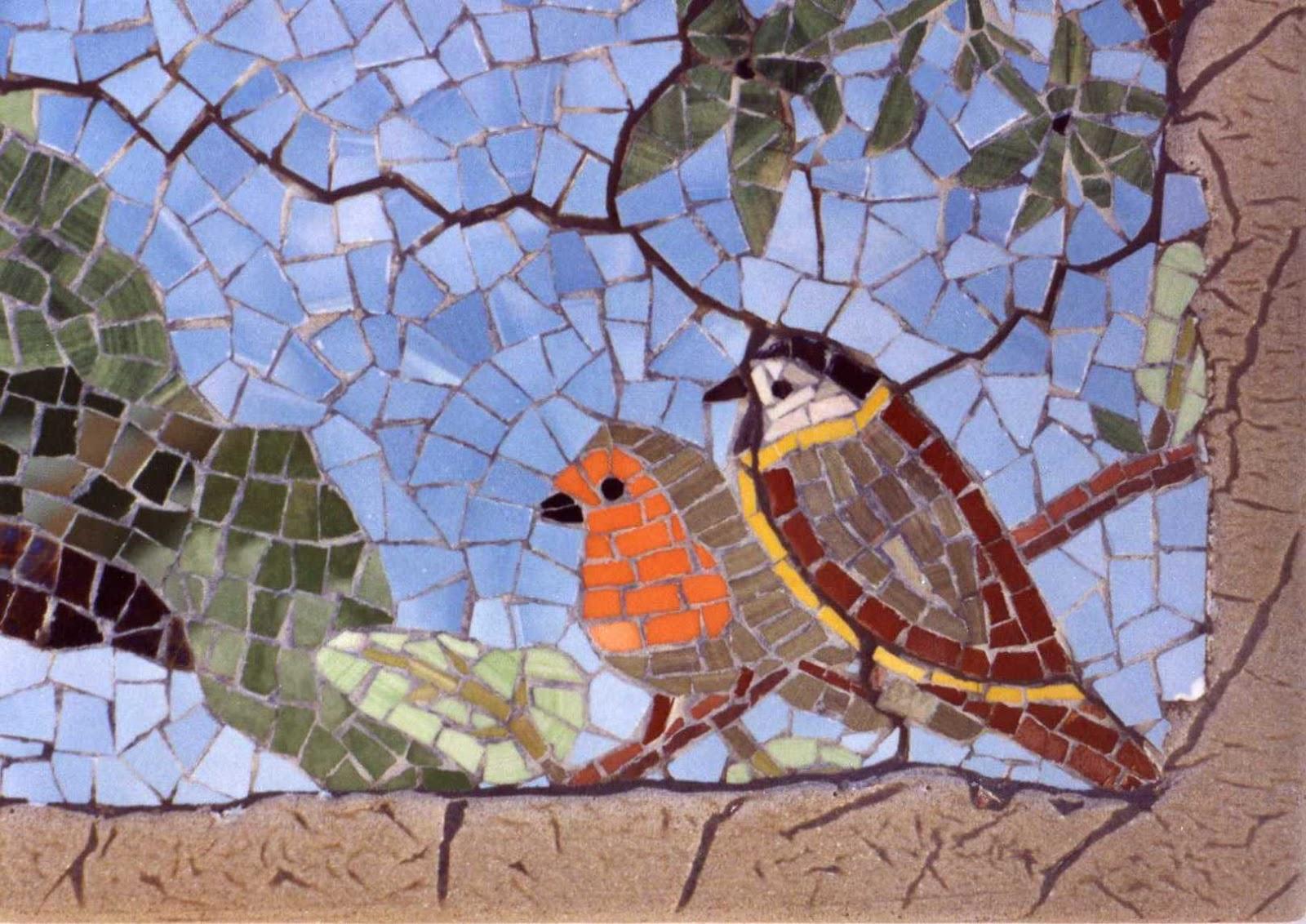 Ricardotecela mosaicos de pajaros el jilguero parte for El mural de mosaicos