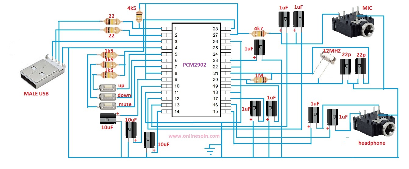 SOUND CARD CIRCUIT DIAGRAM | USB SOUND CARD WITH MICROPHONE INPUT | PCM29O2 IC