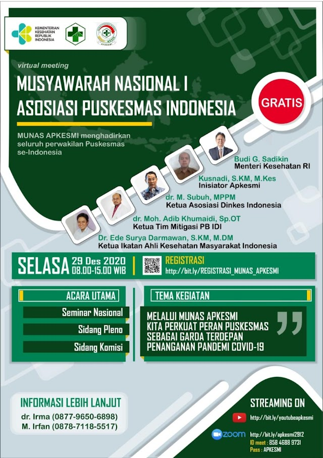 Virtual Meeting Musyawarah Nasional I Asosiasi Puskemas Indonesia