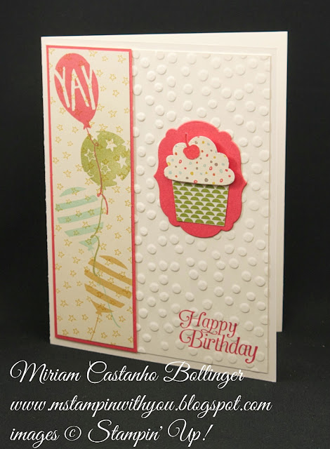 Miriam Castanho-Bollinger, #mstampinwithyou, stampin up, demonstrator, dsc, birthday card, sweet li'l things dsp, cupcake punch, labels collection, big shot, pretty petals dsp, balloon bash stamp set, sky is the limit stamp set, decorative dots tief, su