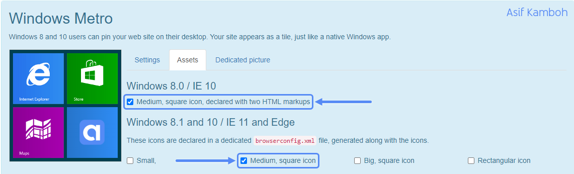 Select Medium, square icon, declared with two HTML markups and Medium, square icon option.