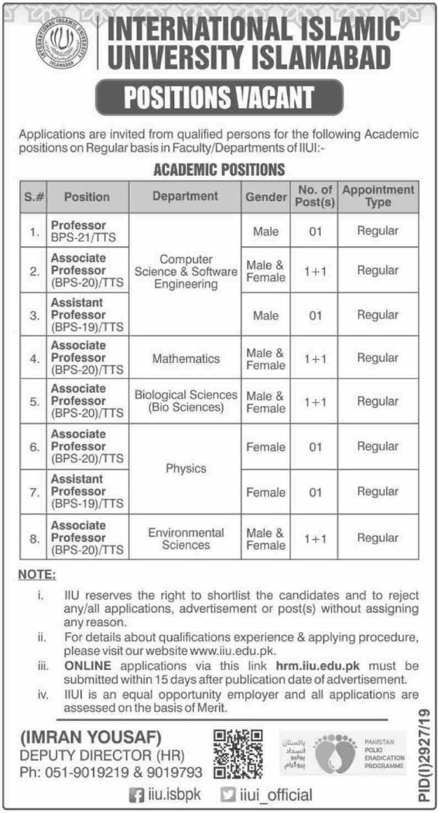 International Islamic University Islamabad Jobs 2019 Latest