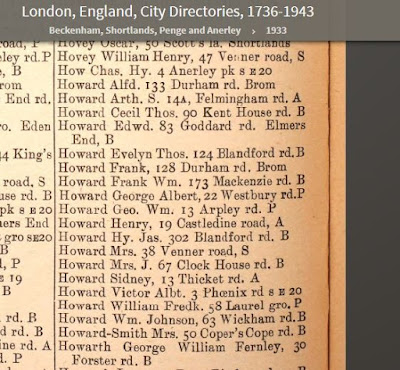 1933 Beckenham directory - Frank Howard living at 128 Durham Road in Bromley