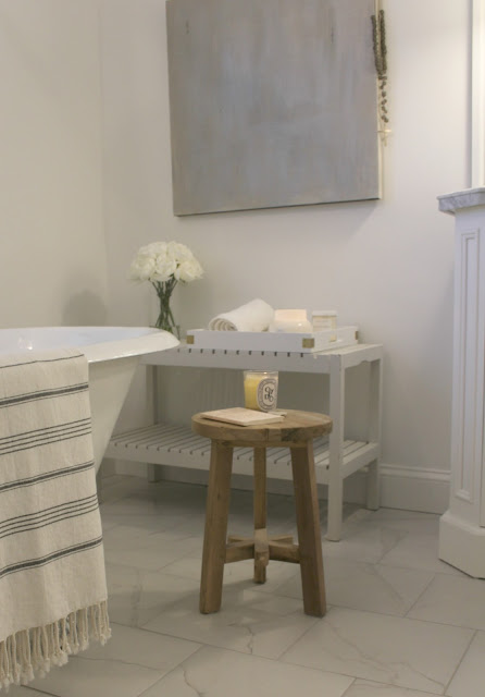 Romantic modern farmhouse interior design style bathroom by Hello Lovely Studio