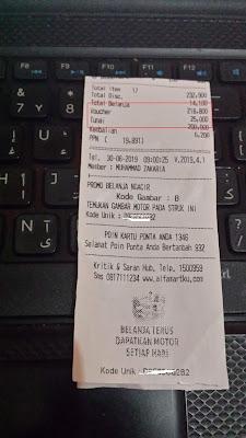 Bukti Potongan Harga di Alfamart dengan Voucher Alfamart Gratis dari Aplikasi Licorice Android