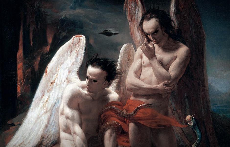 Pintura de ángeles caídos con apariencia de extraterrestres en el infierno con serpientes y un ovni
