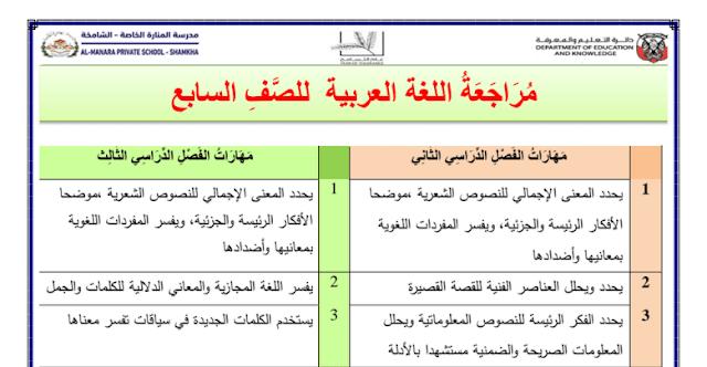 ملزمة الفصل الثاني والثالث لغة عربية صف سابع