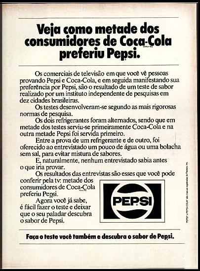 Propaganda antiga da Pepsi em 1976 promovendo o resultado do seu teste cego em comparação à Coca-Cola
