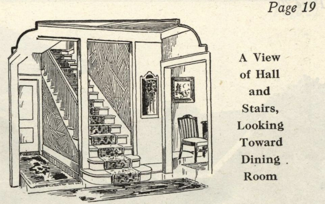 black and white drawing of straight staircase of 535B floorplan from Gordon-Van Tine catalog