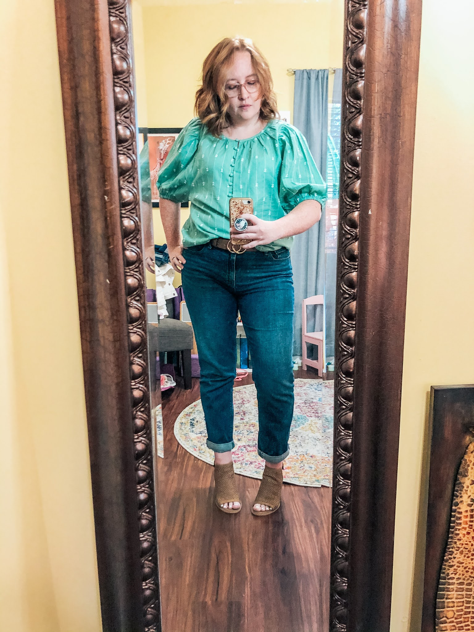 green-puff-sleeve-blouse