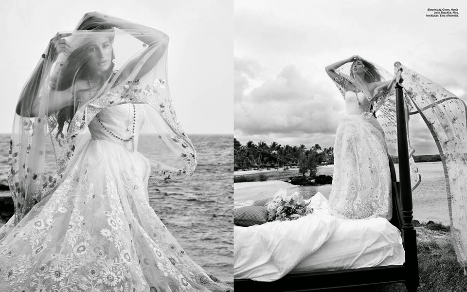 Inside picture's of Nargis Fakhri's cover feature in the December issue of Harper's Bazaar Bride