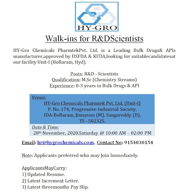 Hy-Gro Chemicals | Walk-in for Freshers and Experienced on 28 Nov 2020