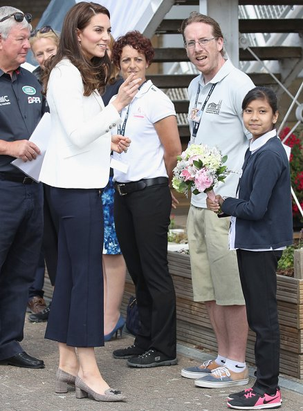 Duchess Catherine of Cambridge attends the 1851 Trust charity's Roadshow. Kate Middleton wore J. Crew Avery Heels