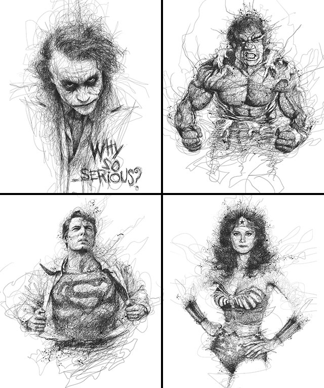Vince Low, La Dislexia y El Arte del Garabato Joker Hulk Superman Wonder Woman