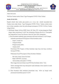 Press Release COVID-19 Tarakan 08 Juli 2021