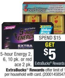 ►►Receive $5.00 ECB WYS/$15.00◄◄ limit 1 5-hour energy
