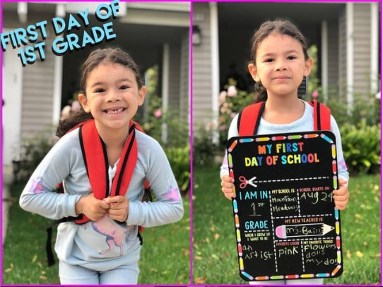 Everly Carganilla on her first day of school