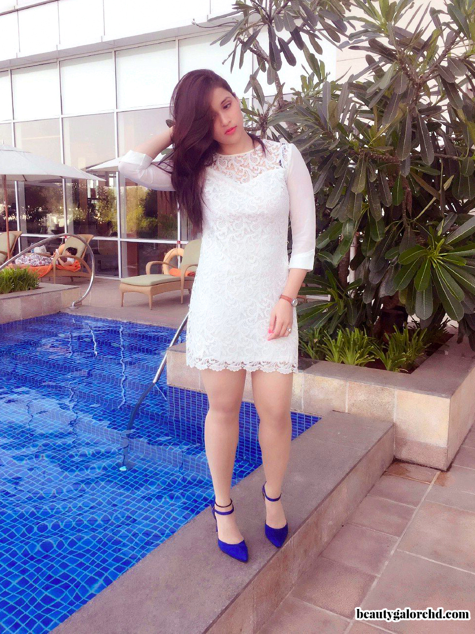 Mannara Chopra Spotted Hot In White Lace Dress In Hotel Swimming Pool