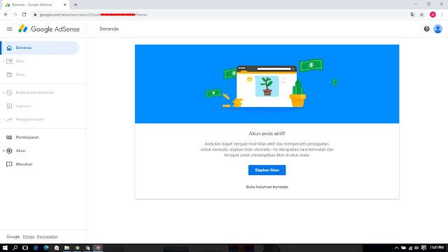 Dashboard Akun Google Adsense Setelah Saya Mendapat Email Persetujuan Adsense