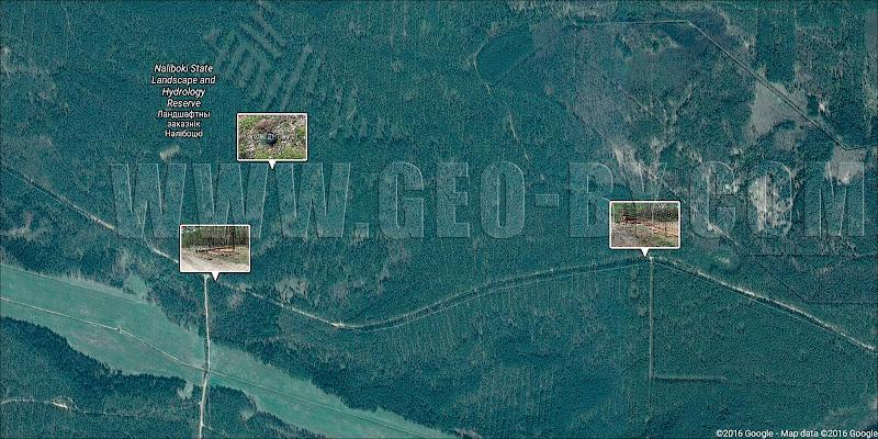 Спутниковая карта порубок леса в Налибокской пуще у урочища Полдорожье