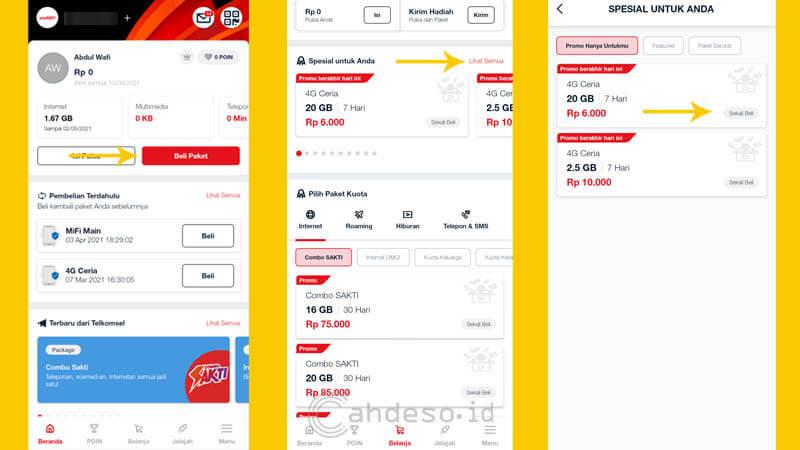 Beli Paket Internet 4G Ceria 20GB Telkomsel Lewat MyTelkomsel
