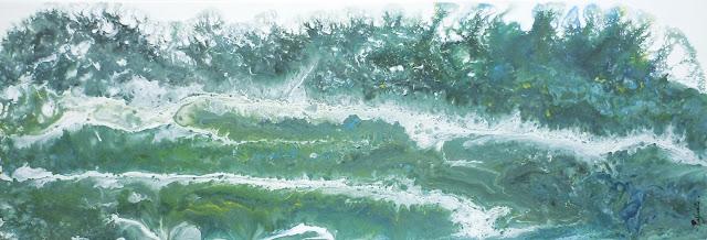 Peinture acrylique par Mercedes lafuente, représentant des vagues vertes