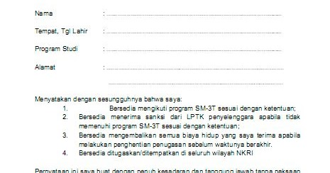 Contoh Surat Kesanggupan Ditugaskan Di Seluruh Wilayah Nkri Blog Pak Pandani