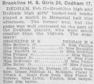 Brookline - Dedham Girls Basketball 1904, Boston Globe