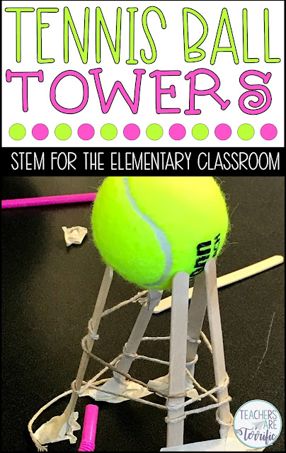 STEM Challenge: Build a tower that will hold a tennis ball aloft.Check this post for more towers.