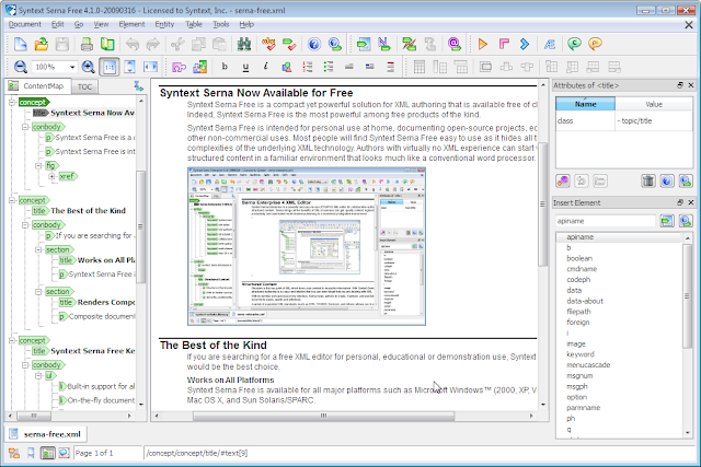 Serna Free XML editor, cross-platform, supports DITA, Docbook, and