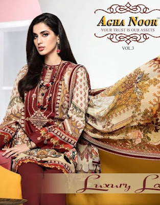 Agha Noor Lawn vol 3 pakistani Lawn Dress Material
