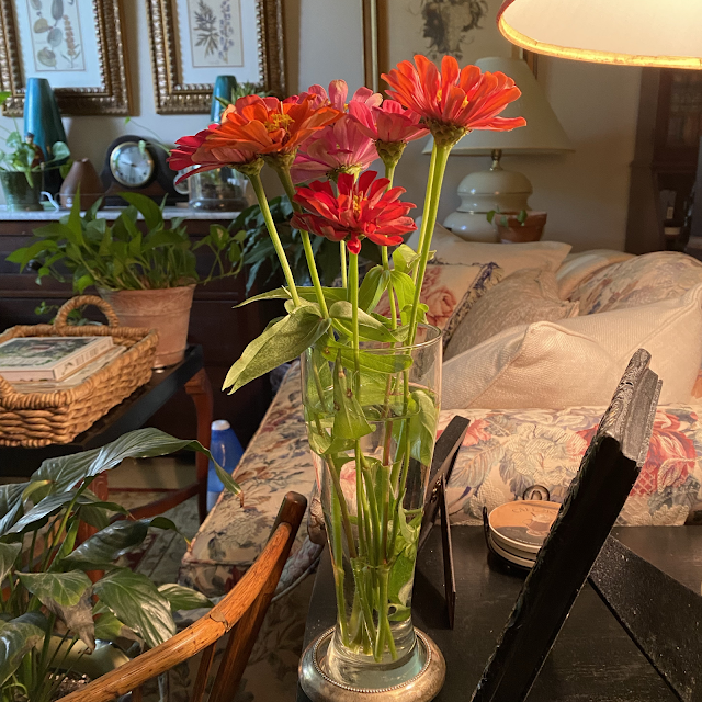 zinnias in a cottage living room