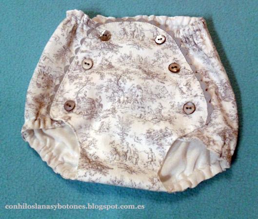 Ranita o cubrepañal de bebé en piqué de canutillo estampado en tonos grises