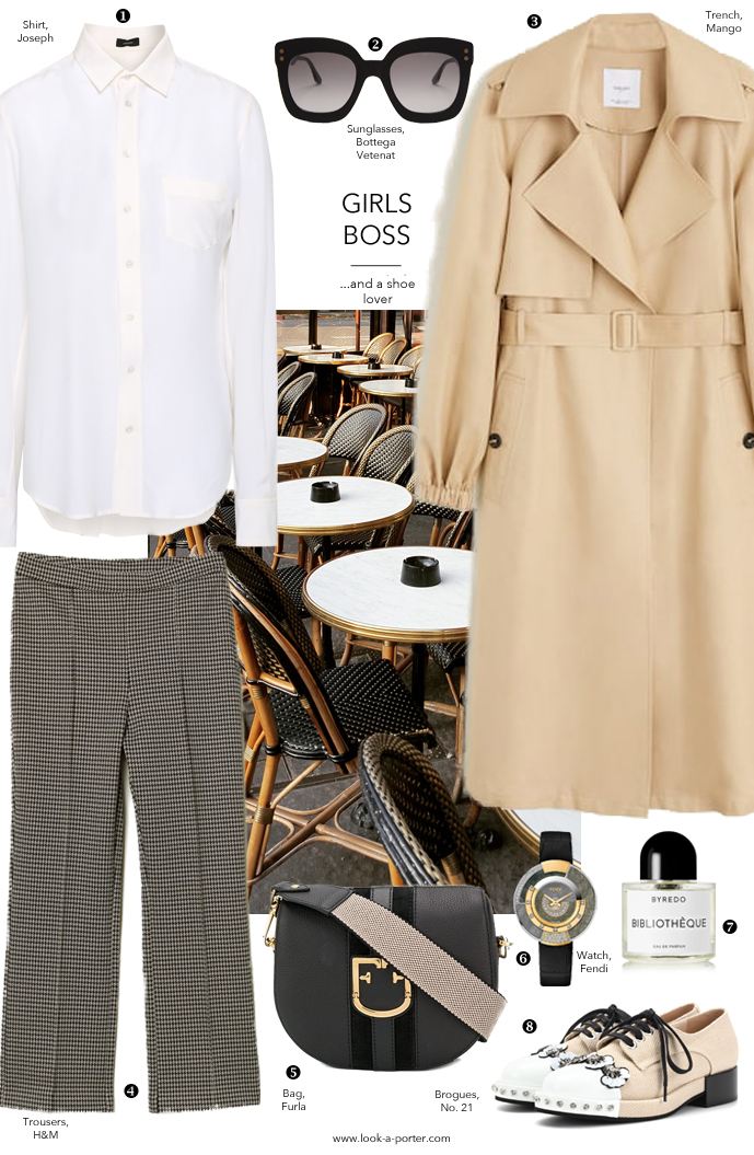 Styling fashion classics - white shirt, trousers, camel linen trench coat, brogues and cross body bag with Mango, H&M, Bottega Veneta, Byredo, Fendi and No. 21 for www.look-a-porter.com fashion blog, daily outfit ideas, designer finds, wardrobe essentials and statements