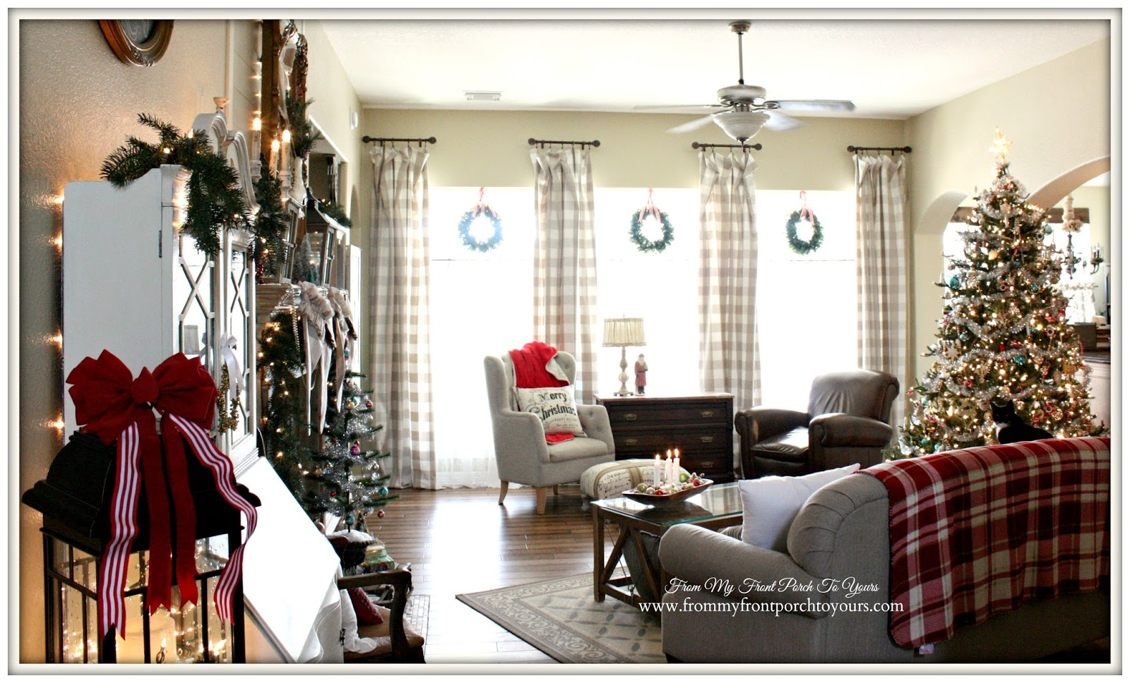 Farmhouse Vintage Christmas Living Room-Buffalo Check Curtains- From My Front Porch To Yours