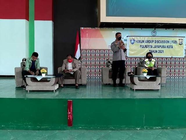 Polresta Jayapura Gelar FGD Bersama Mahasiswa IAIN Fattahul Muluk Guna Tangkal Hoax dan Hate Spech Serta Tertib Berlalulintas