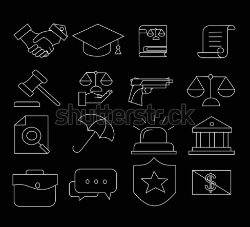 illustration define law and justice icon set