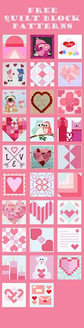 Free romance themed quilt blocks | DevotedQuilter.com