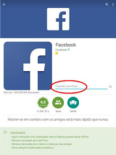 Download do Face no celular