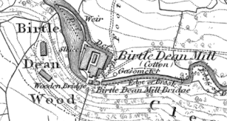 Birtle Dene Mill, OS map, 1847.