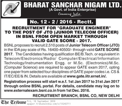 BSNL Official JTO Notification 2017