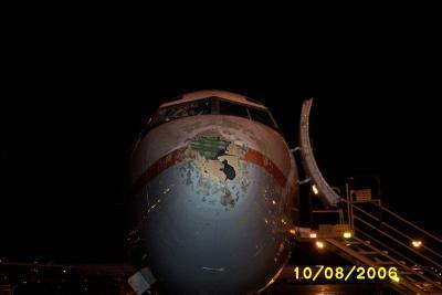 Alberta Hail Damage to airplane