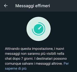 messaggi effimeri whatsapp