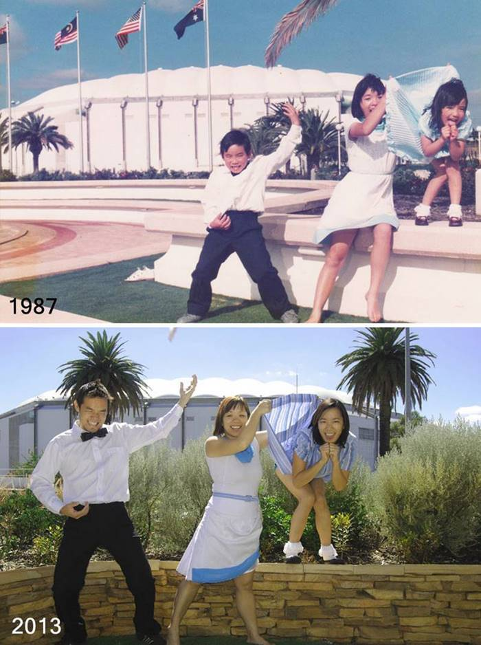 A brother and two sisters, 26 years later ... (Perth, Western Australia).