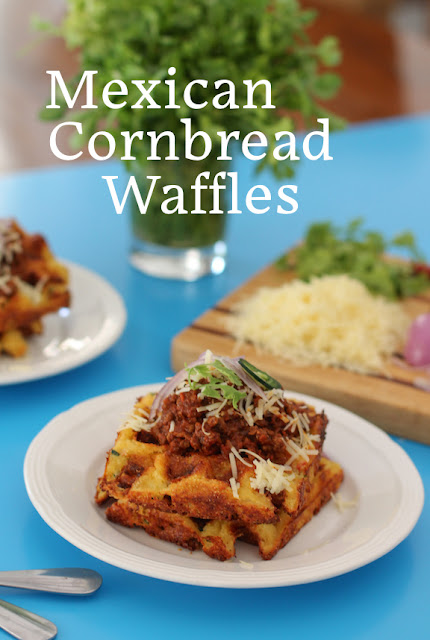 Food Lust People Love: Mexican cornbread waffles are super cheesy and spicy, the perfect breakfast or dinner any day of the week. Cooking the batter in a waffle iron gives it the most wonderful golden crunchy exterior.