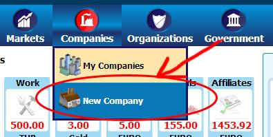 ภาพที่ 3 : เมนู new company