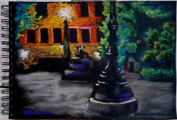 Piazza at Night Pastel Painting art black paper, night view, drawing, art