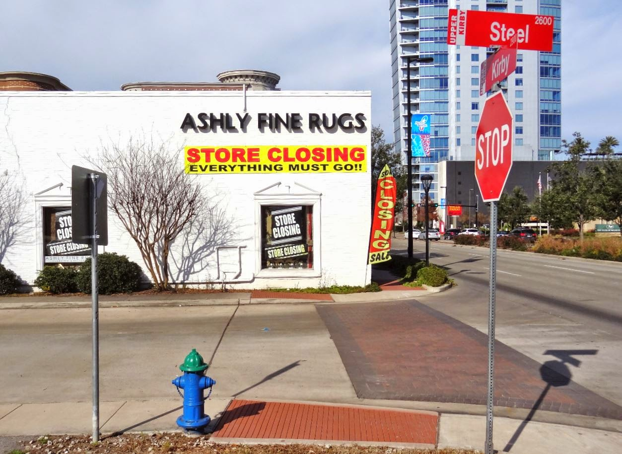 Ashly Fine Rugs 2015 Store Closing on Kirby (photo of store from South)