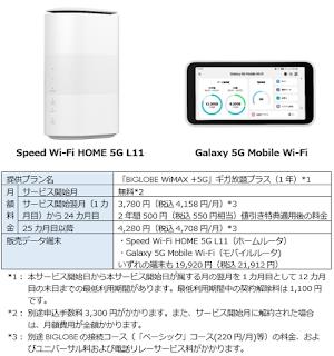 5G対応「BIGLOBE WiMAX +5G」提供開始! 1万円還元や2年間毎月550円引きなどの特典キャンペーン実施!
